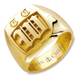 Man's Highgate Monogram Ring - 14K Yellow or White