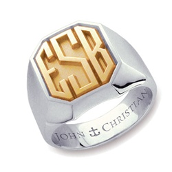 Man's Kent Monogram Ring - 14K Yellow & PūrLuxium™