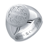 Lady's Mayfair Monogram Ring - Platinum