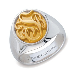 Man's Somerset Monogram Ring - 14K & PūrLuxium™