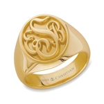 Man's Somerset Monogram Ring - 14K Yellow or White