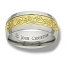 Wide Meadows Sculpted Band - 14K Yellow & White